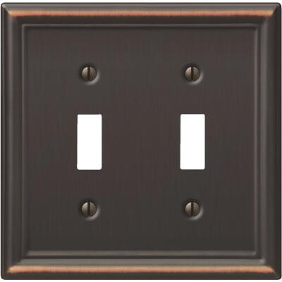 Amerelle Chelsea 2-Gang Stamped Steel Toggle Switch Wall Plate, Aged Bronze