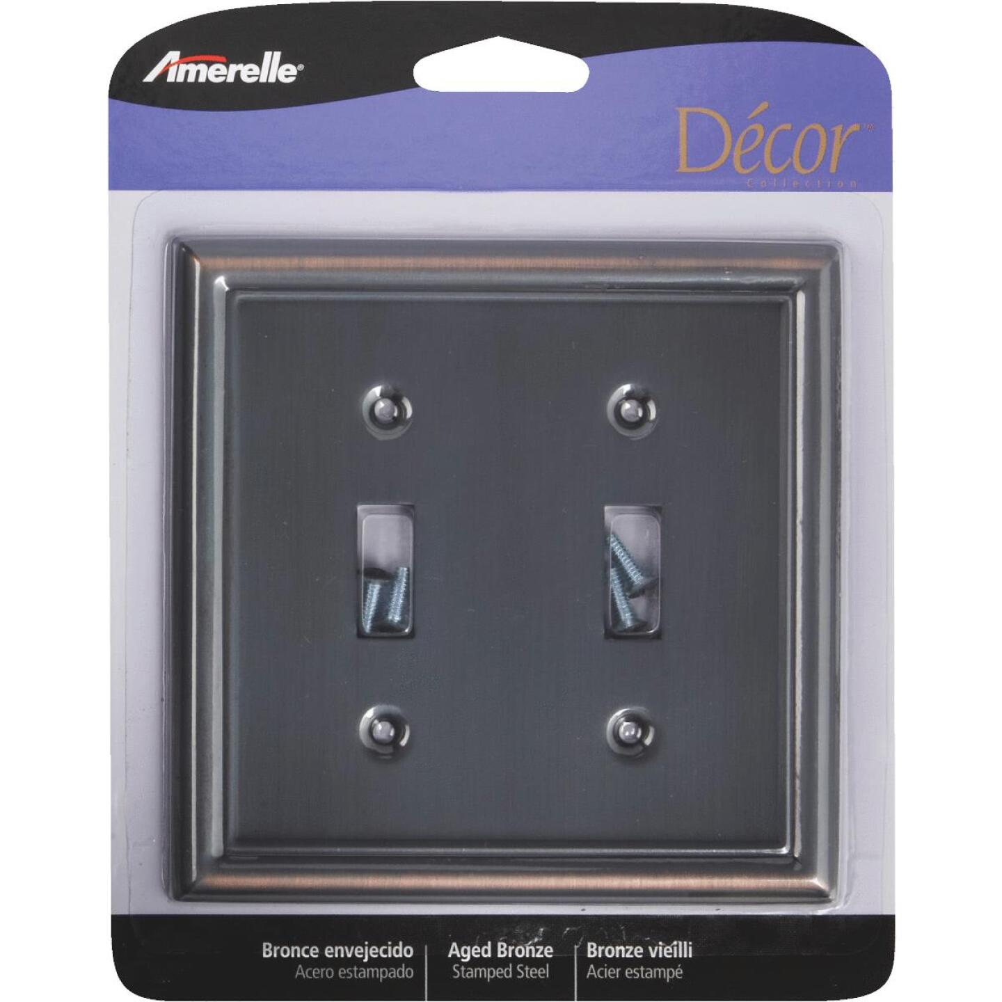 Amerelle Chelsea 2-Gang Stamped Steel Toggle Switch Wall Plate, Aged Bronze Image 2