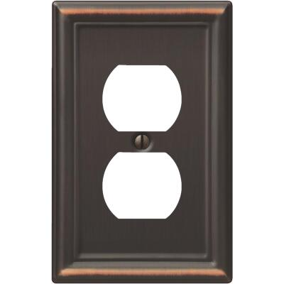 Amerelle Chelsea 1-Gang Stamped Steel Outlet Wall Plate, Aged Bronze