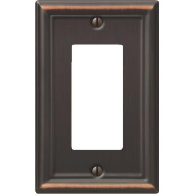 Amerelle Chelsea 1-Gang Stamped Steel Rocker Decorator Wall Plate, Aged Bronze