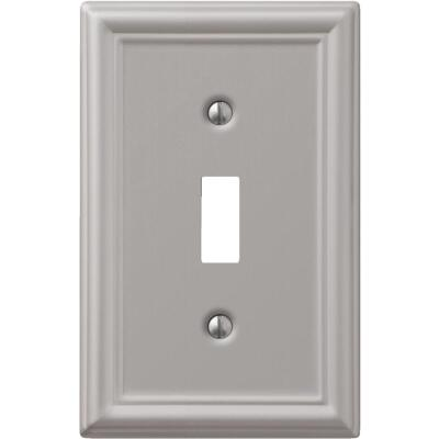 Amerelle Chelsea 1-Gang Stamped Steel Toggle Switch Wall Plate, Brushed Nickel
