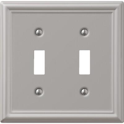 Amerelle Chelsea 2-Gang Stamped Steel Toggle Switch Wall Plate, Brushed Nickel