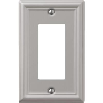Amerelle Chelsea 1-Gang Stamped Steel Rocker Decorator Wall Plate, Brushed Nickel