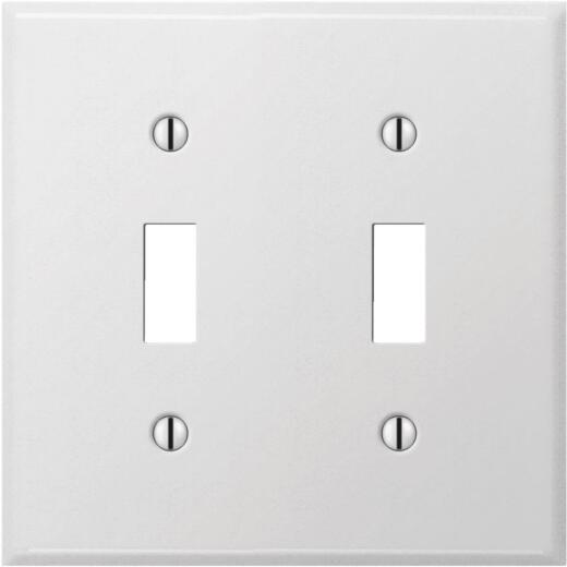 Amerelle PRO 2-Gang Stamped Steel Toggle Switch Wall Plate, Smooth White