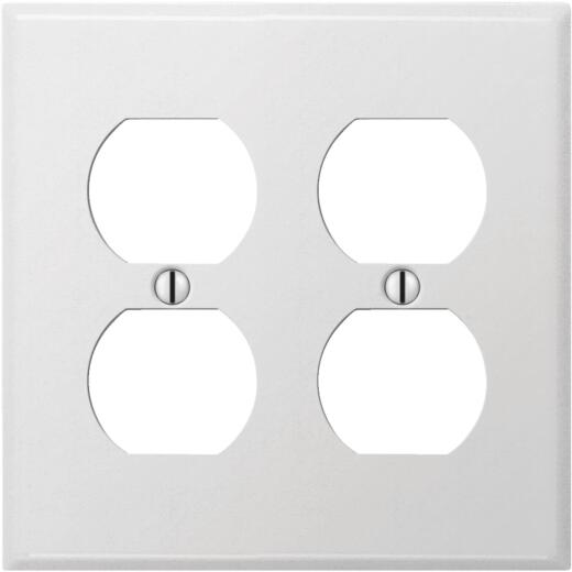 Amerelle PRO 2-Gang Stamped Steel Outlet Wall Plate, Smooth White