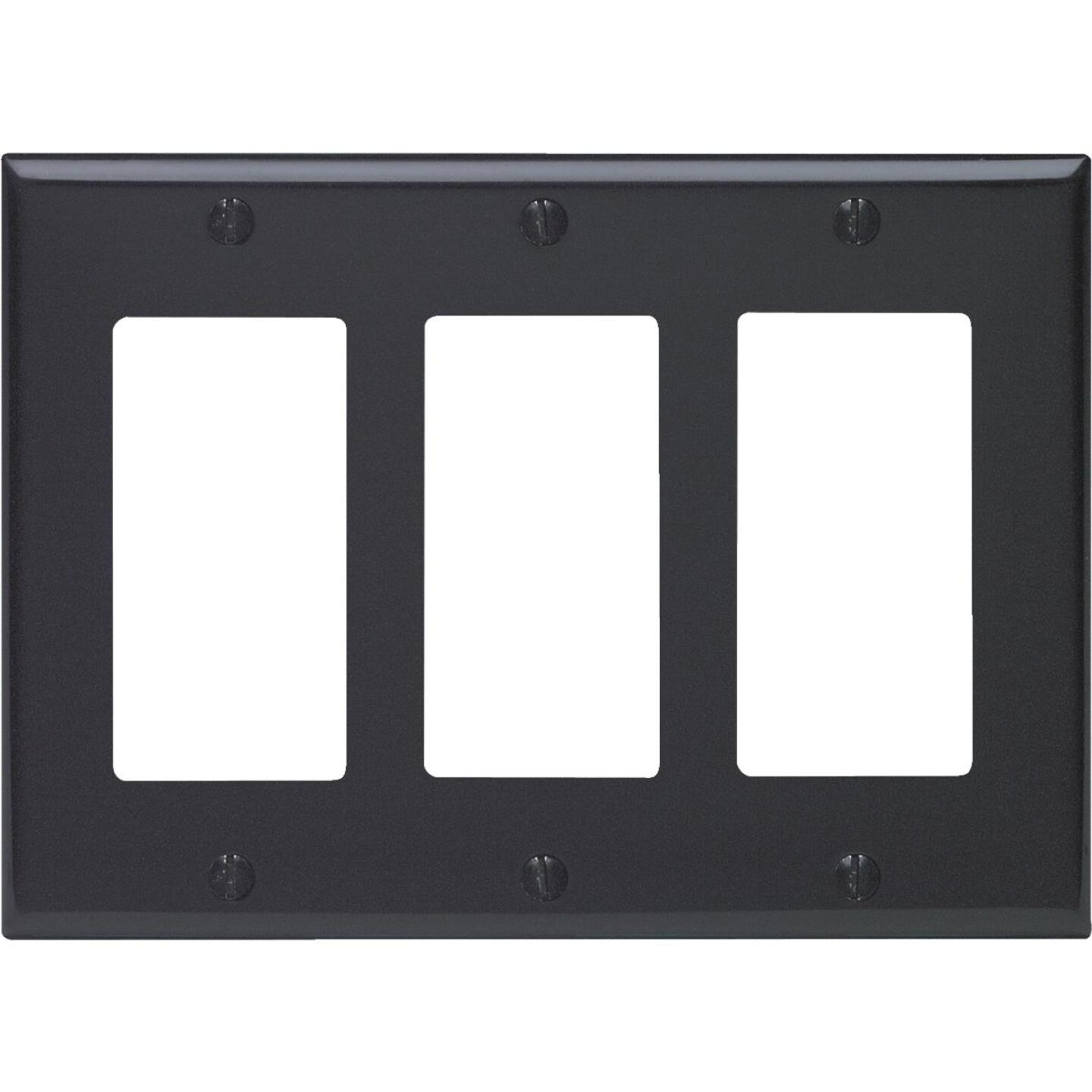 Leviton Decora 3-Gang Smooth Plastic Rocker Decorator Wall Plate, Black Image 1