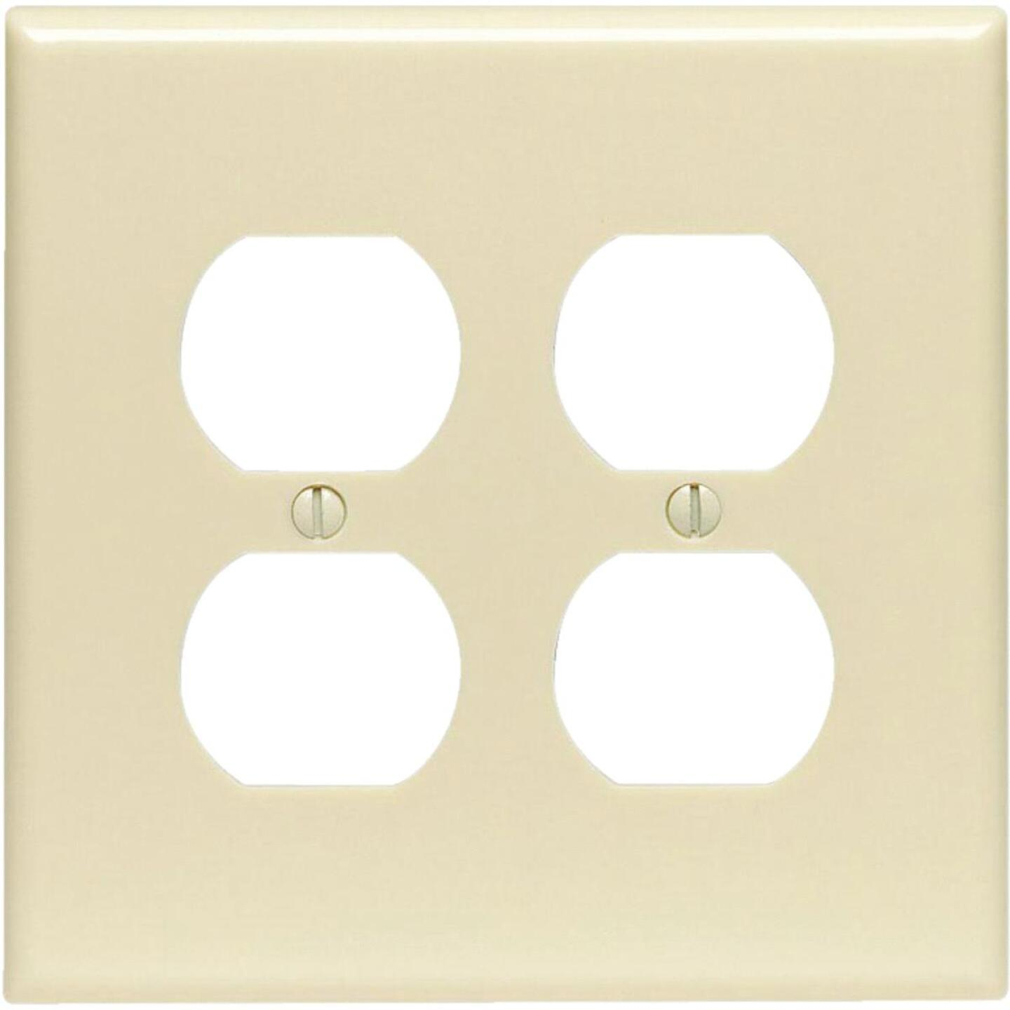 Leviton Mid-Way 2-Gang Smooth Plastic Outlet Wall Plate, Ivory Image 1