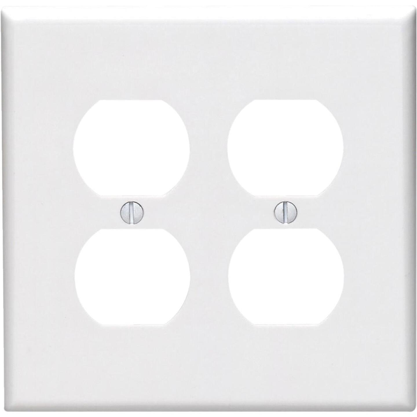 Leviton Mid-Way 2-Gang Smooth Plastic Outlet Wall Plate, White Image 1