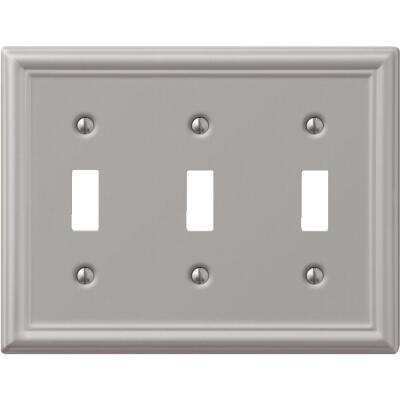Amerelle Chelsea 3-Gang Stamped Steel Toggle Switch Wall Plate, Brushed Nickel