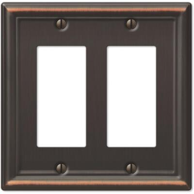 Amerelle Chelsea 2-Gang Stamped Steel Rocker Decorator Wall Plate, Aged Bronze