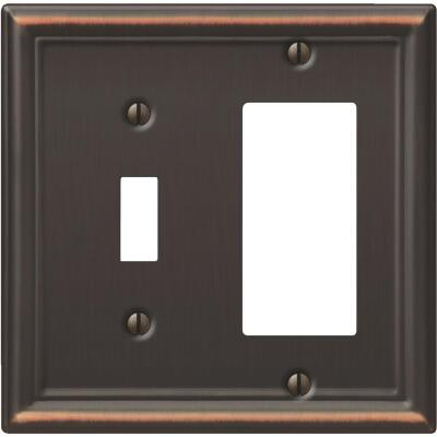 Amerelle Chelsea 2-Gang Stamped Steel Single Toggle/Rocker Wall Plate, Aged Bronze