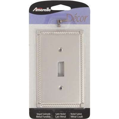 Amerelle Georgian 1-Gang Cast Metal Toggle Switch Wall Plate, Satin Nickel