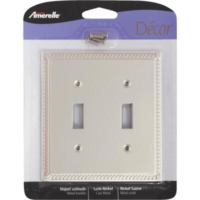 Amerelle Georgian 2-Gang Cast Metal Toggle Switch Wall Plate, Satin Nickel