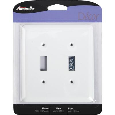 Amerelle 1-Gang Stamped Steel Toggle Switch Wall Plate, White