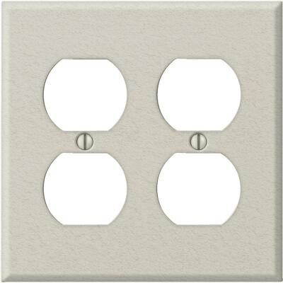 Amerelle PRO 2-Gang Stamped Steel Outlet Wall Plate, Light Almond Wrinkle