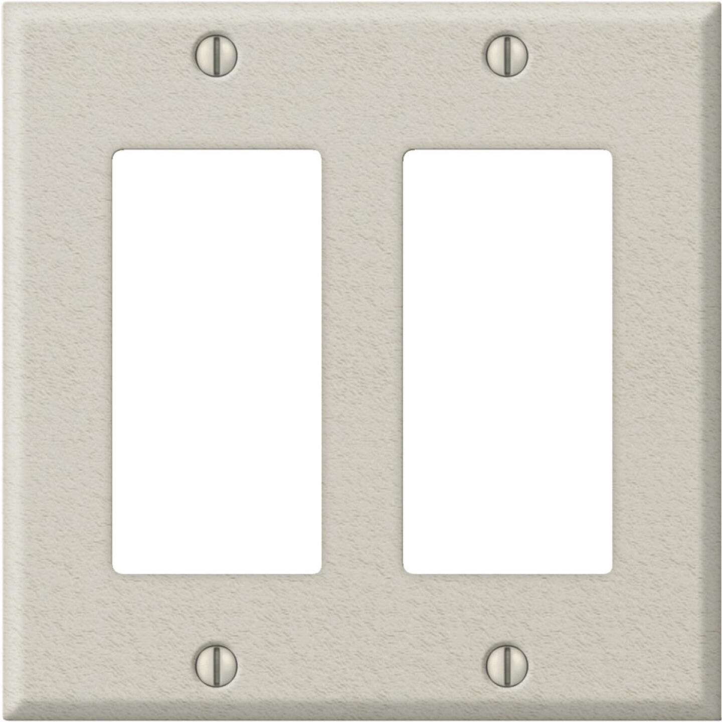Amerelle PRO 2-Gang Stamped Steel Rocker Decorator Wall Plate, Light Almond Wrinkle Image 1