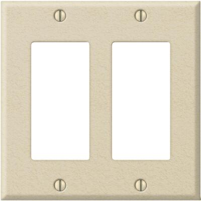 Amerelle PRO 2-Gang Stamped Steel Rocker Decorator Wall Plate, Ivory Wrinkle