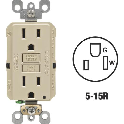 Leviton SmartlockPro Self-Test 15A Ivory Residential Grade Rounded Corner 5-15R GFCI Outlet (3-Pack)