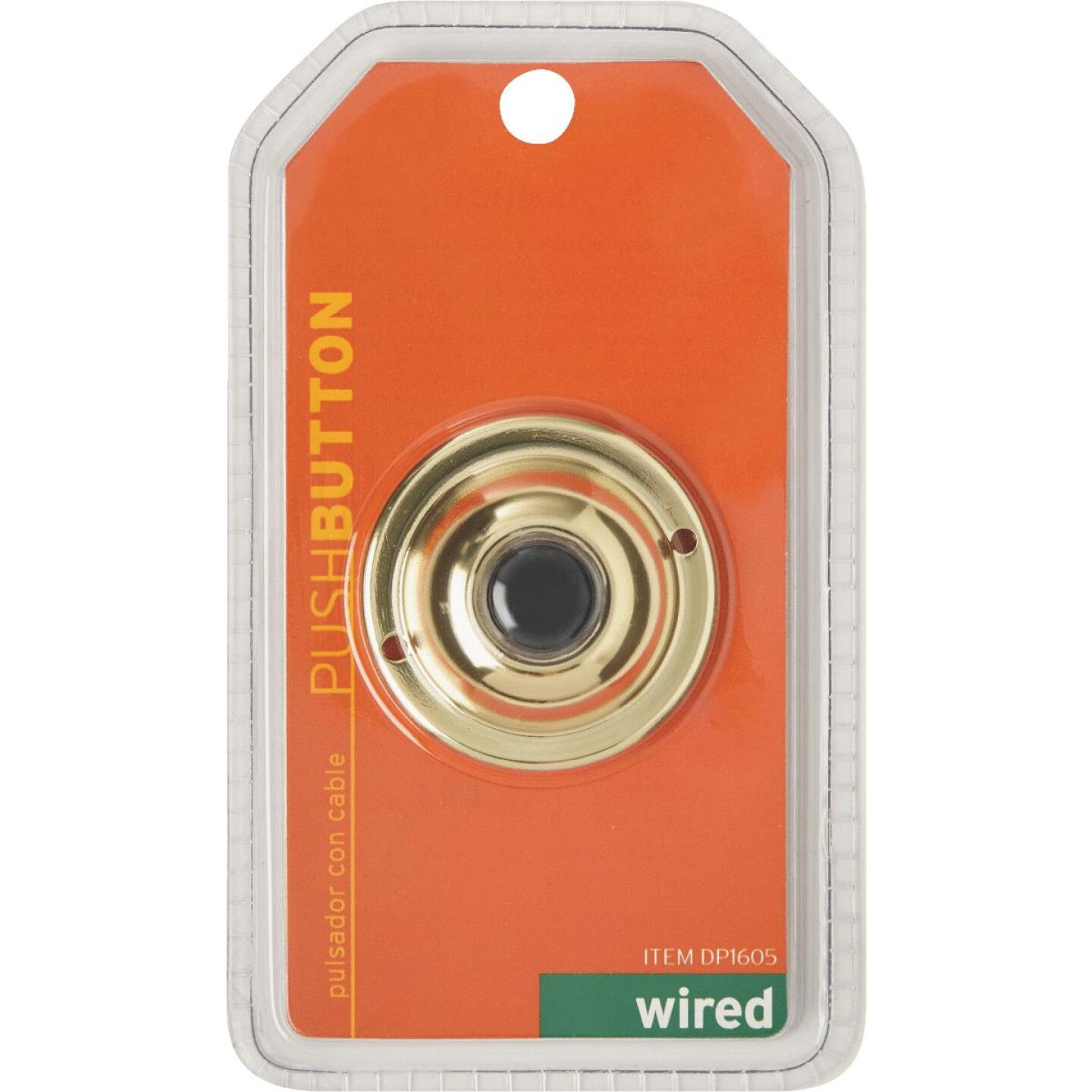 IQ America Wired Brass Classic Doorbell Push-Button Image 2