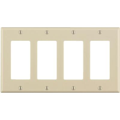 Leviton Decora 4-Gang Smooth Plastic Rocker Decorator Wall Plate, Light Almond