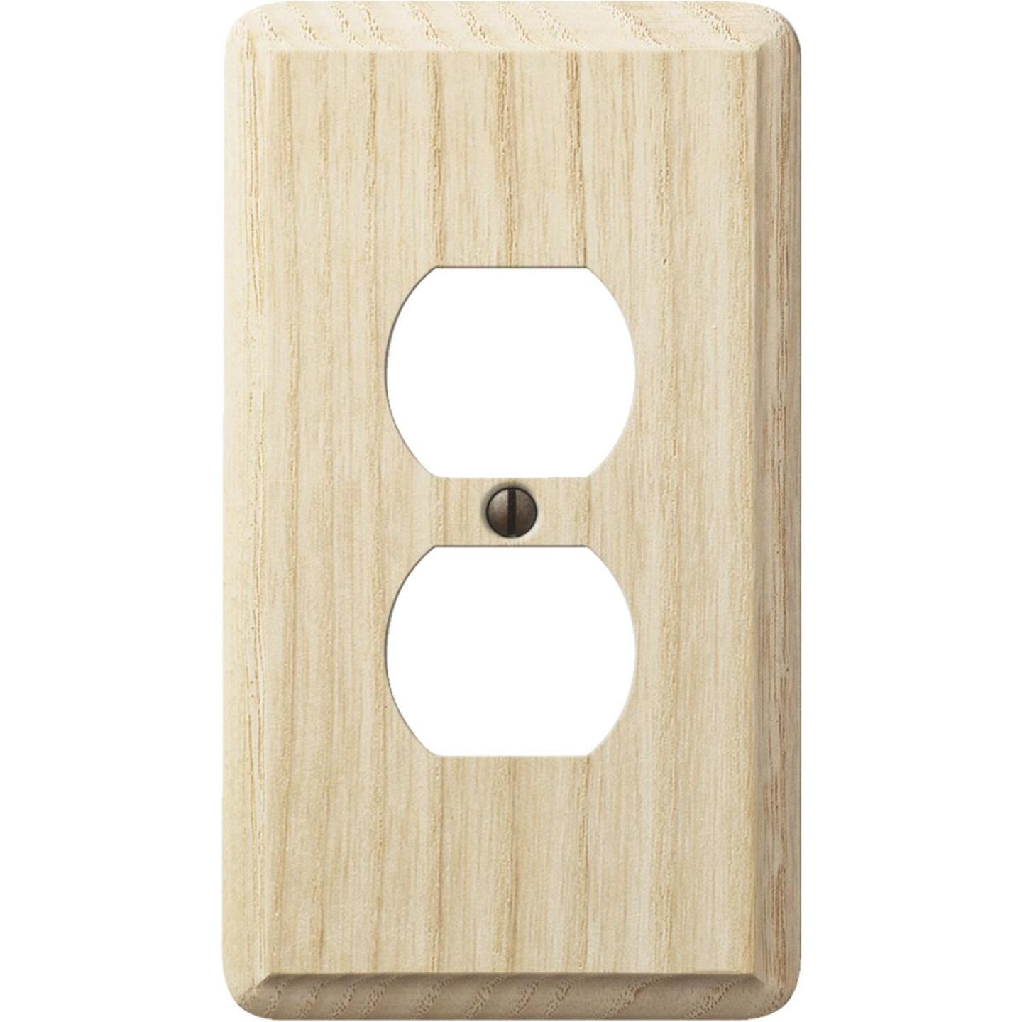 Amerelle 1-Gang Solid Oak Outlet Wall Plate, Unfinished Ash Image 1