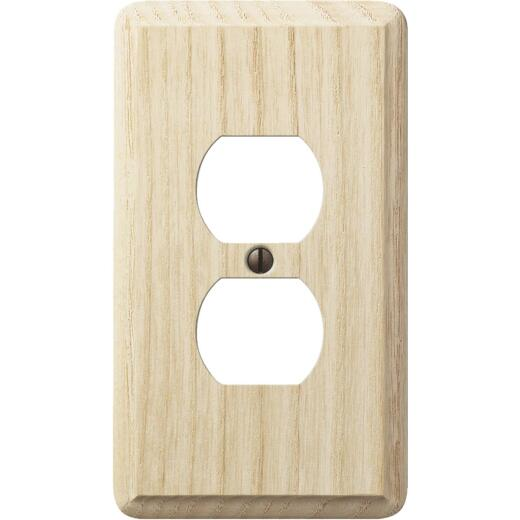 Amerelle 1-Gang Solid Oak Outlet Wall Plate, Unfinished Ash