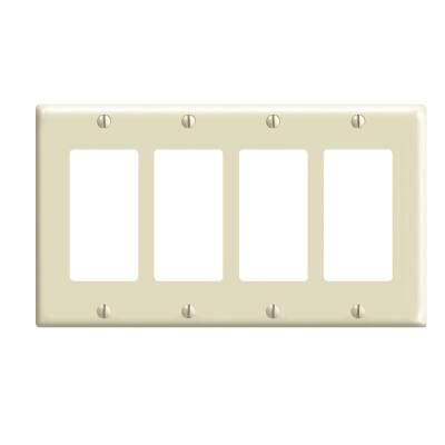 Leviton Decora 4-Gang Smooth Plastic Rocker Decorator Wall Plate, Ivory