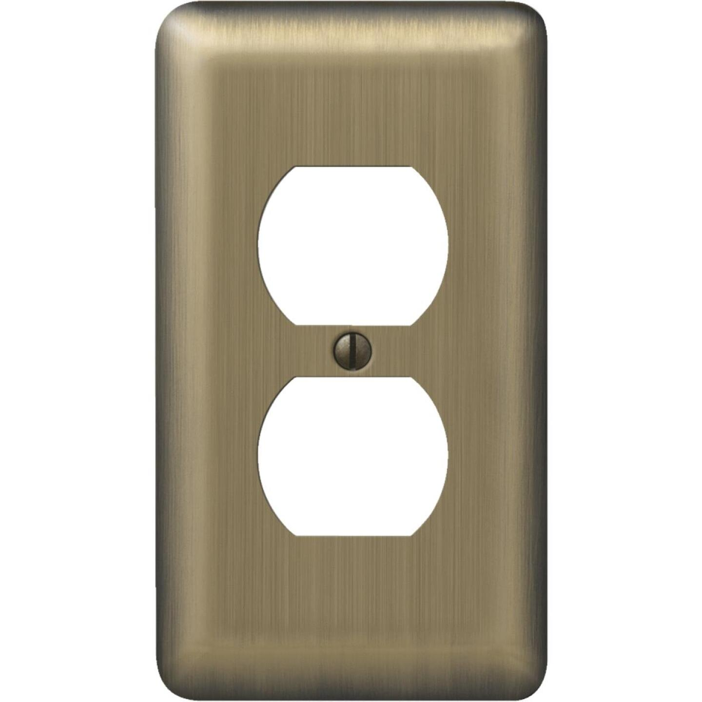 Amerelle 1-Gang Stamped Steel Outlet Wall Plate, Brushed Brass Image 1