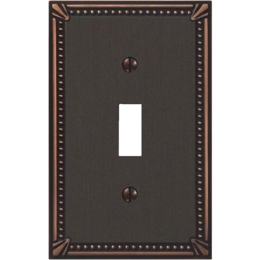 Amerelle Imperial Bead 1-GangCast Metal Toggle Switch Wall Plate, Aged Bronze