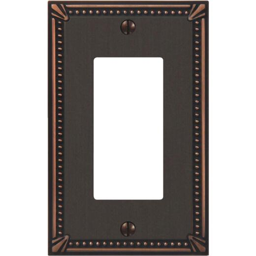 Amerelle Imperial 1-Gang Bead Cast Metal Rocker Decorator Wall Plate, Aged Bronze