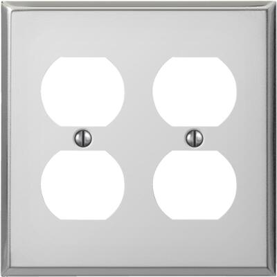 Amerelle PRO 2-Gang Stamped Steel Outlet Wall Plate, Polished Chrome