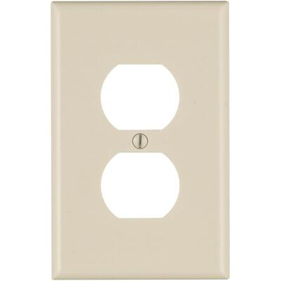Leviton Mid-Way 1-Gang Smooth Plastic Outlet Wall Plate, Light Almond