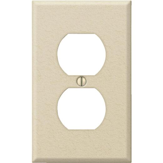 Amerelle PRO 1-Gang Stamped Steel Outlet Wall Plate, Ivory Wrinkle