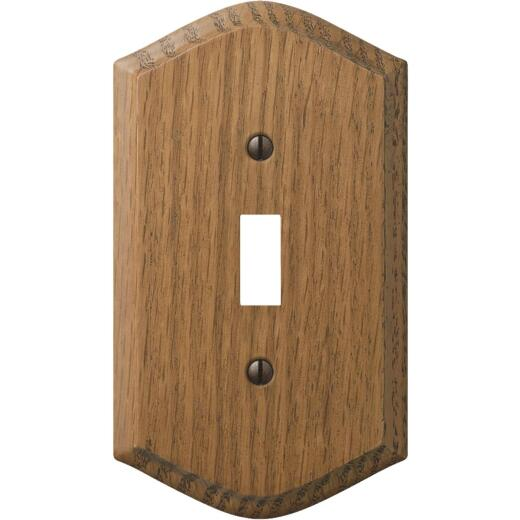 Amerelle Country 1-Gang Solid Oak Toggle Switch Wall Plate, Medium Oak
