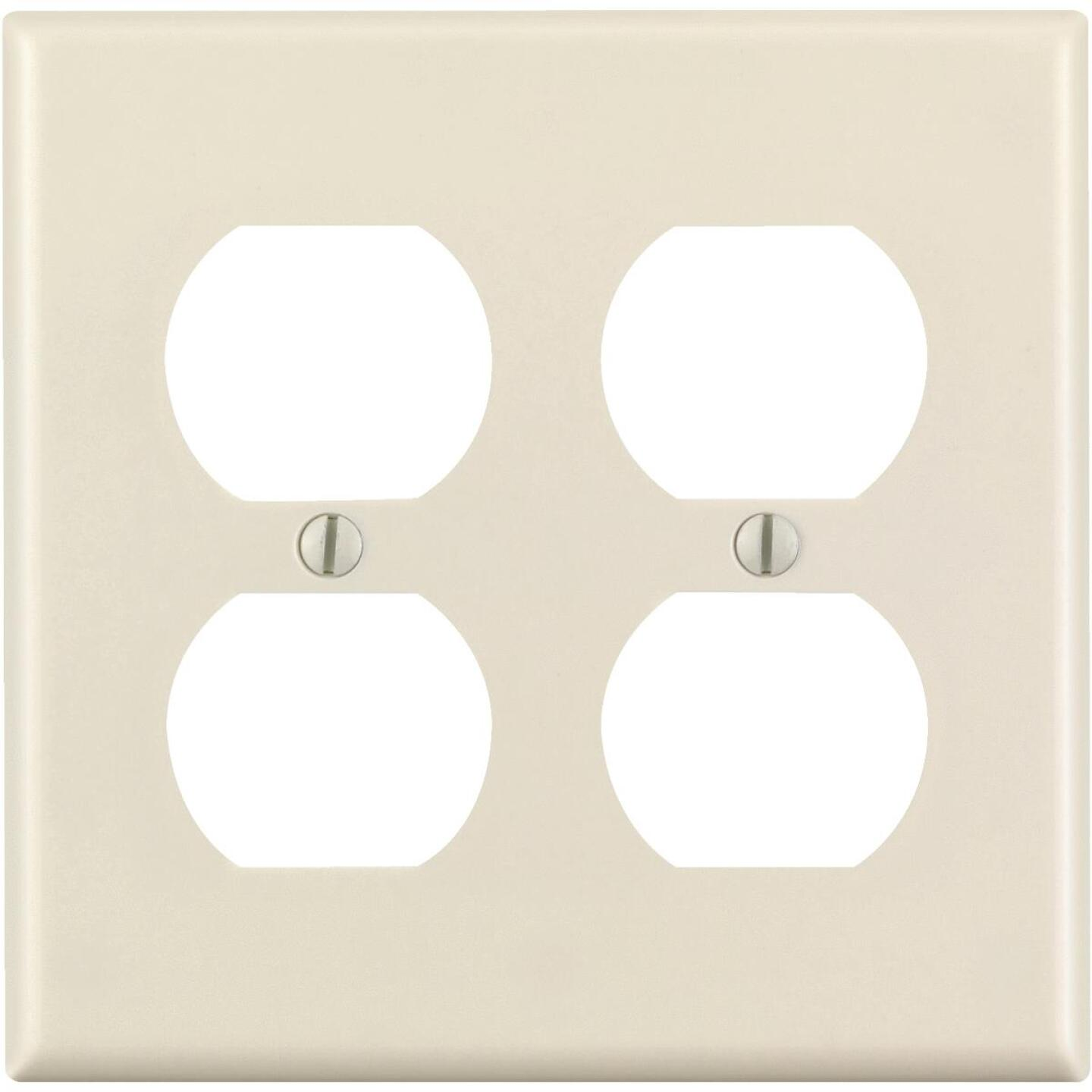 Leviton 2-Gang Smooth Plastic Outlet Wall Plate, Light Almond Image 1