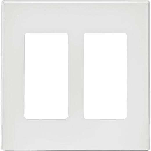 Leviton Decora Plus 2-Gang Poly Carbonate Screwless Decorator Wall Plate, White