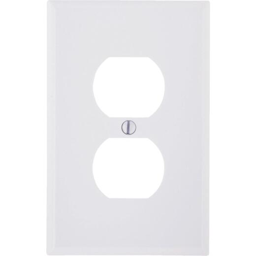 Leviton Mid-Way 1-Gang Smooth Plastic Outlet Wall Plate, White