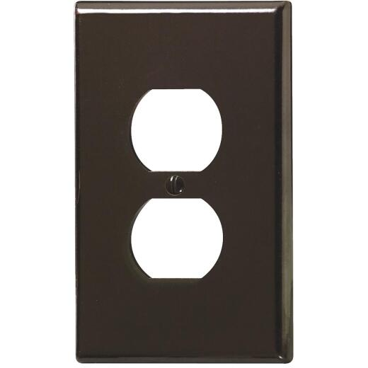 Leviton 1-Gang Smooth Plastic Oversized Outlet Wall Plate, Brown
