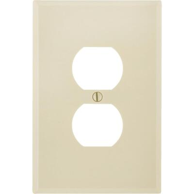 Leviton 1-Gang Smooth Plastic Oversized Outlet Wall Plate, Ivory