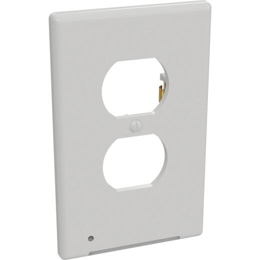 Westek LumiCover 1-Gang Plastic Nightlight Outlet Wall Plate, White