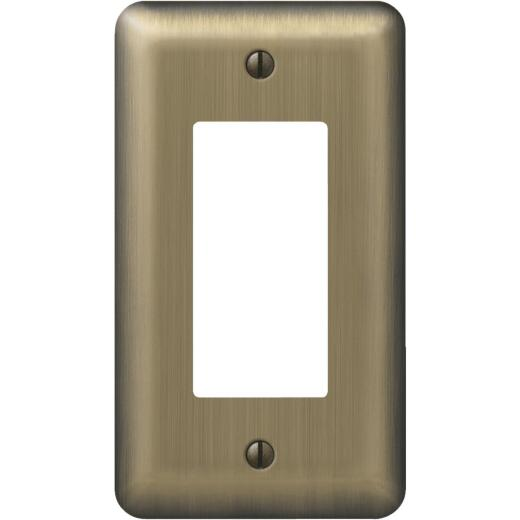 Amerelle 1-Gang Stamped Steel Rocker Decorator Wall Plate, Brushed Brass