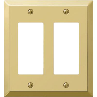 Amerelle 2-Gang Stamped Steel Rocker Decorator Wall Plate, Polished Brass