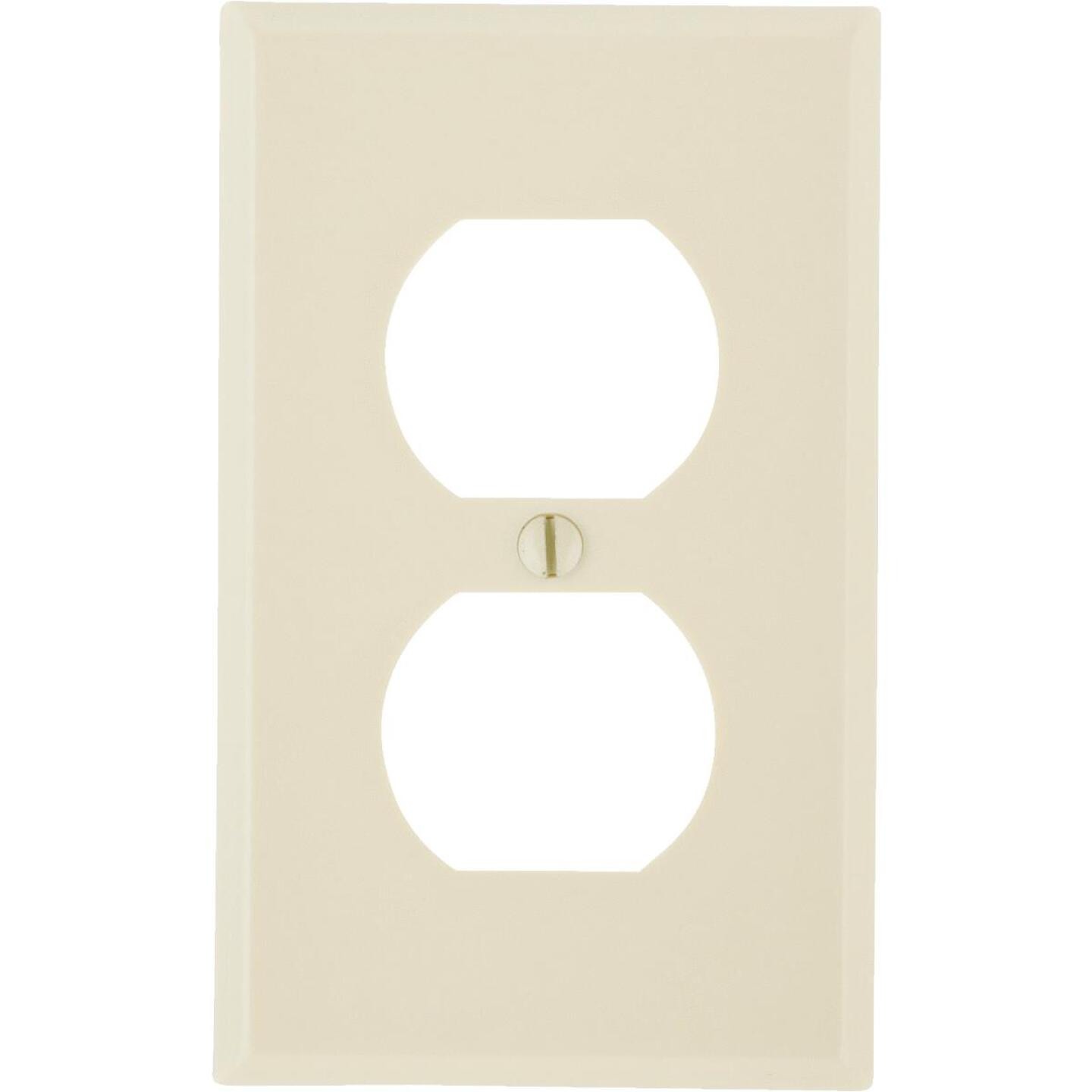 Leviton 1-Gang Smooth Plastic Outlet Wall Plate, Ivory Image 1