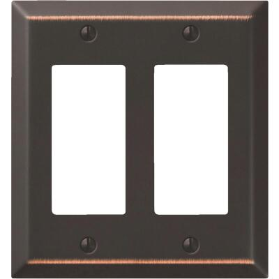 Amerelle 2-Gang Stamped Steel Rocker Decorator Wall Plate, Aged Bronze