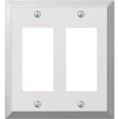 Amerelle 2-Gang Stamped Steel Rocker Decorator Wall Plate, Polished Chrome