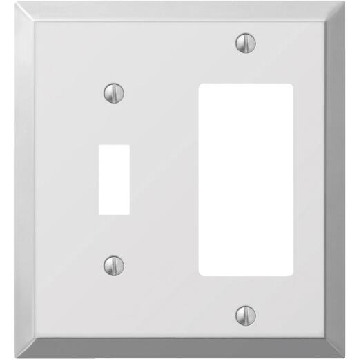 Amerelle 2-Gang Stamped Steel Single Toggle/Rocker Wall Plate, Polished Chrome