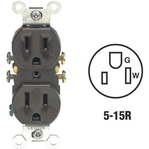Leviton 15A Brown Shallow Grounded 5-15R Duplex Outlet