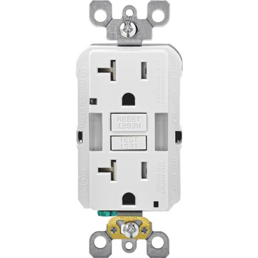 Leviton SmartLockPro Self-Test 20A White Tamper Resistant 5-20R GFCI Outlet
