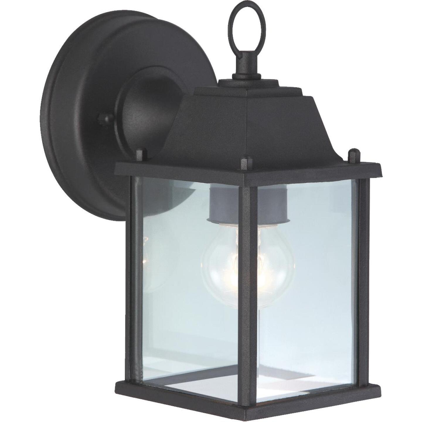Home Impressions 100W Incandescent Black Lantern Outdoor Wall Light Fixture Image 1