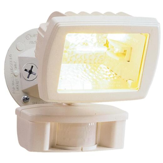 Designers Edge White Motion Sensing Dusk To Dawn Halogen Floodlight Fixture